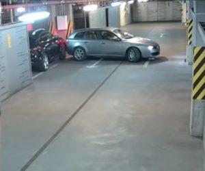 【衝撃】酔っ払った男が駐車場から車を出そうとするが…衝撃映像