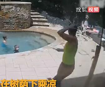 【衝撃】プールサイドのリクライニングチェアに座る女性に突然木が倒れてくる衝撃映像