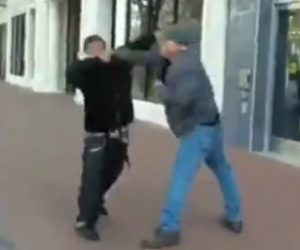 Young guy starts a fight with an old man, old man knocks his ass out with a single punch