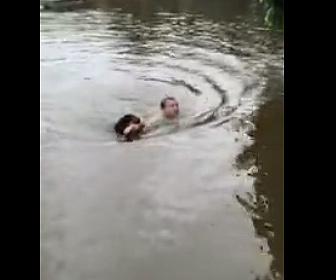 【衝撃】散歩中の犬が池ぶ飛び込み、溺れている男性を助ける衝撃映像