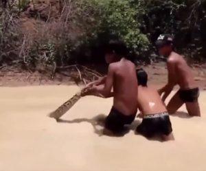 【衝撃】少年たちが濁った川で巨大ヘビと戦う衝撃映像