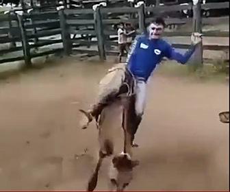 【衝撃】ロデオをする男性。暴馬を乗りこなすが馬が怒り…