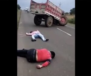 【衝撃】居眠り運転の大型トラックがトラクターに突っ込んでしまう衝撃映像