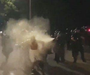 【衝撃】抗議デモで男性が警察官に詰め寄るが催涙スプレーを浴びまくる衝撃映像