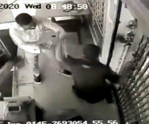 【衝撃】銃を持った3人の武装強盗に警備員が必死に抵抗する衝撃映像