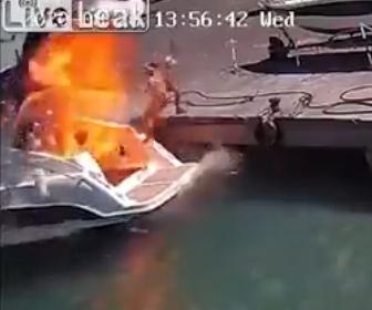 【爆発】給油中のボートが爆発。ボートに乗っていた女性が吹き飛ばされ海に落下する衝撃映像