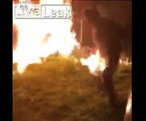 【衝撃】男性が庭の焚火にガソリンをかけ、大変なことになってしまう衝撃映像