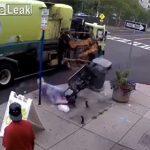【衝撃】ゴミ収集車のアームがベンチを掴んでしまい座っていた女性が放り出される衝撃映像