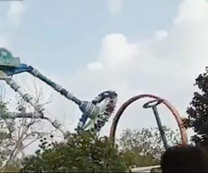 【ショッキング】遊園地で絶叫アトラクションのアームが折れ落下し…
