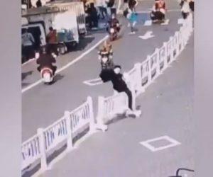 【衝撃】男性が中央分離帯の柵をジャンプして乗り越えよとするが…