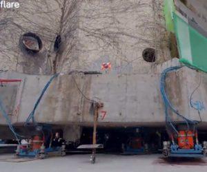 【衝撃】巨大な5階建ての小学校(7,600トン)を60m移動させる衝撃映像
