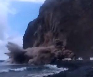 【衝撃】カナリア諸島のラゴメラ島で大規模な地すべりが発生