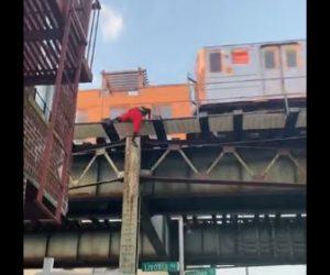 【衝撃】柱をよじ登り電車に不正乗車する男