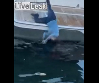 【衝撃】酔っ払った女性が転倒しクルーザーから海に落ちてしまう衝撃映像