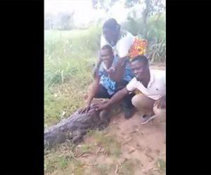 【動物】川から上がってきたワニと写真撮影しようとする女性。ワニが突然振り向き…