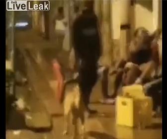 【動画】男が近づいてきた犬を蹴り飛ばそうとするが…