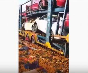 【事故】高速道路で10台の大型トラックが玉突き事故。ヤバすぎる事故現場映像。