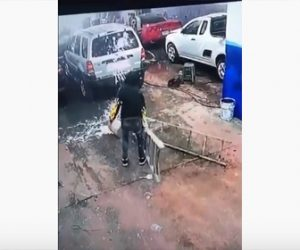 【動画】男性が脚立を倒してしまい車にペンキをかけてしまう