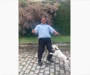 【動物】カメラにポーズをとる男性に犬が飛びかかり…