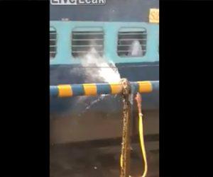 【衝撃】水道管の亀裂から大量の水が噴き出し、電車内の人達にかかりまくる衝撃映像