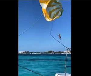 【衝撃】パラセーリングをする女性が風にあおられ落下してしまう衝撃映像