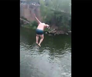 【衝撃】おじいさんが高い崖から川に飛び込むが…