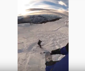 【衝撃】スノーボーダーが大ジャンプをするが着地点に人が…