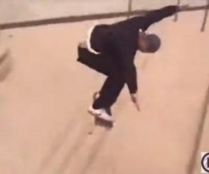 【衝撃】男性がスケボーで階段ジャンプを決めるが撮影していたカメラを泥棒に取られる