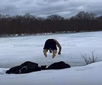 【衝撃】凍った湖に男性が頭から飛び込むが湖が浅く…