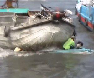 【衝撃】小さなボートが大きなボートに激突し沈没してしまう