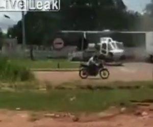 【事故】プロペラが回転するヘリコプターにトラックが近づいてしまい…