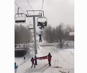 【衝撃】スキー場で高さ20フィート(6m)のリフトから8歳少女が落下してしまう衝撃映像