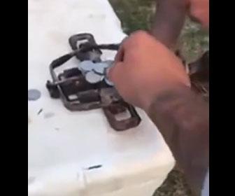 【面白】酔っ払い達がアニマルトラップにコインを乗せて遊ぶ