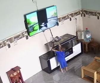 【衝撃】小さな子供がテレビに映る動物を捕まえようとしてテレビを棒で叩いてしまい…