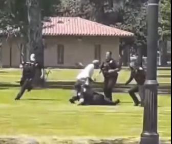 【衝撃】警察官4人に囲まれるが、巧みな動きで逃げ切るおじいさんが凄い