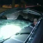 【事故】女性が運転する猛スピードの車が高速道路高架橋から落下してしまう事故映像