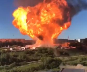 【爆発】ロシアのガソリンスタンドで火災が発生。燃料タンクが大爆発し35人が負傷