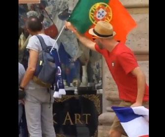 【面白】ポルトガルのサッカーファンがフランス人をいたずらをする
