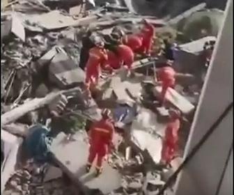 【動画】中国、江蘇省で5階建ホテル倒壊 1人死亡 今も7人安否不明