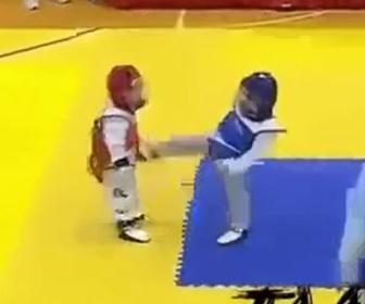 【動画】子供のテコンドーの試合。蹴りを食らい死んだふりをする子供が可愛い