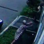 【動画】建物から落ちてくる子供を女性が下で受け止める