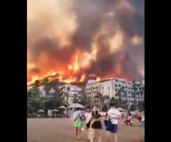 【動画】トルコ山火事続き死者6人 各国支援、ホテル客退避も