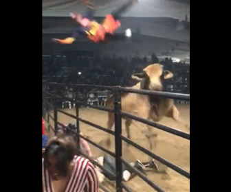 【動画】ロデオで暴れ牛に男性が振り落とされ、助けに入った男性が…