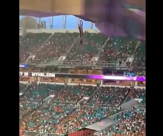 【動画】スタジアムで宙吊りの猫が落下してしまが…ネコの危機に観客が団結