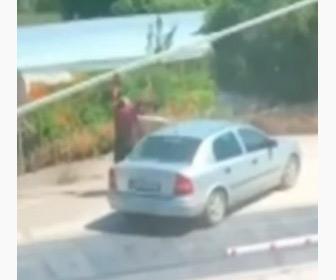 【動画】遮断器が下りた踏切を渡ろうとした車、男性が手で遮断器を持ち上げるが…