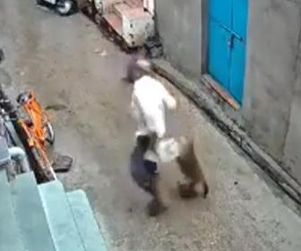 【動画】道を歩くおじいさんにサルが後ろから飛びかかる衝撃映像