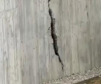 【動画】外壁の裂け目に見えるアートが凄い